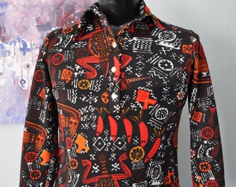 Ladies Polyester Blouse Tropical Aztec Funky Lounge Shirt 70s Disco Red Black South American Rainforest Jungle Patterned