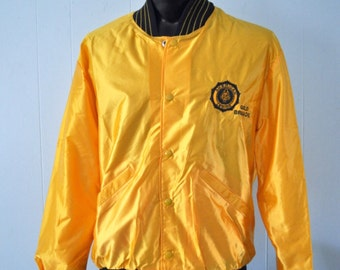 Unworn Satin Jacket American Legion Gold Brigade Baseball Sports Varsity USA Military 80s 90s Gold Goldenrod GOlden Coat LARGE