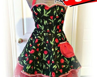 Handmade woman's apron in floral theme, misses, plus size, sweetheart, Bridal gifts, kitchen, hostess, full