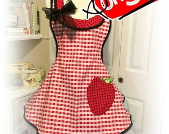 Handmade woman's apron red gingham, strawberry pocket, over the head, full, kitchen, Bridal gifts, hostess, kitchy