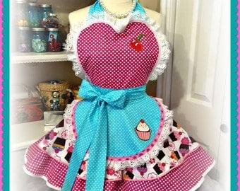Cupcake theme woman's apron, sweetheart, baking, kitchen, full, pin up, retro, baking, kitchy,handmade
