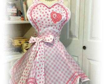 Handmade woman's apron, sweetheart, retro, pin up, pink, Valentine's day, Bridal gifts, costume party, hearts