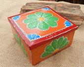 Rosette Tin Punch Trinket Box   ~ Multi Color Tin Punch Rosary Box  ~  Tin Punch Gift Box  ~  Tin Punch Trinket Box  ~  Rosette Trinket Box