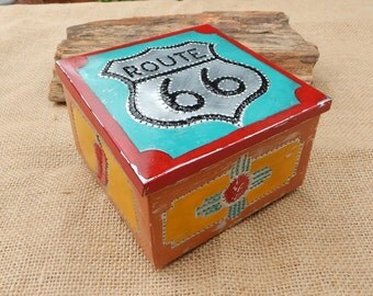 Route 66 with Red Chili's and Zia Symbol Tin Punch Trinket Box   ~ Tin Punch Rosary Box  ~  Route 66, Chili and Zia Symbol Tin Punch Box