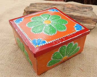 Rosette Tin Punch Trinket Box   ~ Southwest Decor Rosary Box  ~  Tin Punch Gift Box  ~  Tin Punch Trinket Box  ~  Rosette Trinket Box