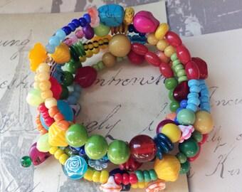 Dia de los muertos bracelet memory wire bracelet colorful sugar skull bracelet