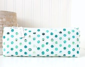Blue and Green Pencil Case Green Pencil Pouch Polka Dot Pencil Case Purse Organizer