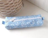 Blue and White Floral Cute Pencil Case Boxy Pouch Blue Zipper Pouch