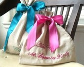 Cotton Anniversary Gift For Her - Him / Message in a Bag / Personalized Gift / Bridesmaids Party favors /  Fabric bag / Drawstring shoe bag