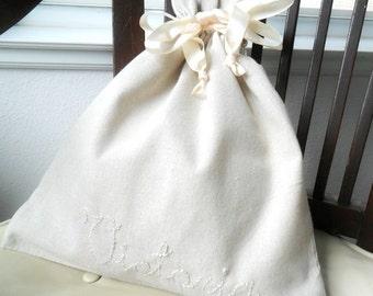 Drawstring Linen Bag  Bridal Lingerie Shower Personalized Lingerie bag  travel organizer  Fabric Gift Shoe Bag Newborn Wardrobe Natural
