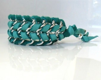 Turquoise Cuff Chain Bracelet  / Boho Chic Deer skin leather Bracelet / Rustic Bracelet  Chain bracelet Tribal cuff  Cool gift ideas
