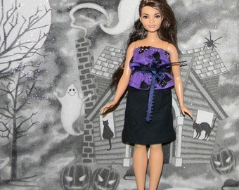 CB1-59) Curvy barbie doll clothes, 1 skirt and top set (halloween)