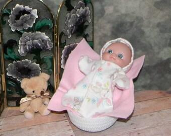 LCBHHS-09) 5 inch Lil Cutesies baby doll, big head, by Berenguer, flannel hooded sleeper