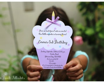 10 GORGEOUS handcut lavender Cupcake Birthday Invitations  with satin bow for 3rd Birthday (any age) custom designed by Palm Beach Polkadots