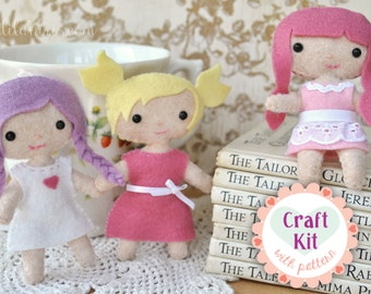 DIY Doll Making Craft Kit - Make Your Own Mini Felt Dolls Sewing Kit - Fun Project Perfect For Gift Giving