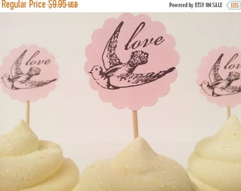SALE Wedding Love Bird Cupcake Toppers Bridal Shower Engagement Pink Set of 20