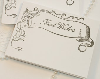 FREE SHIPPING Wedding Wish Cards Vintage Banner Black and White Set of 50