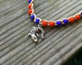 Anklet Gator charm Orange and Blue Florida