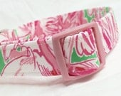 Lilly Pulitzer Fabric Dog Collar Girl Prep Green Pink Colony Flamingos