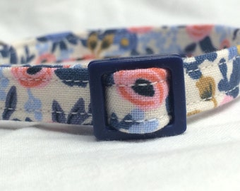 Rifle Paper Co. Cat Collar Les Fleurs Fabric Flowers Periwinkle Blue
