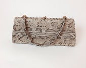 Vintage 1960s Snakeskin Purse Reptile Kelly Handbag Real Python Leather 1950s Pocketbook Late 50s early 60s Rectangle MAD MEN Top Handle Bag