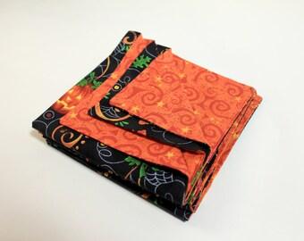 Cloth Napkins - Halloween Napkins - Reversible, Fabric Napkins - Set of Six