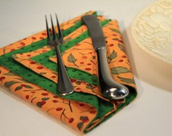 Cloth Napkins - Autumn - Thanksgiving - Fall - Revesible Fabric - Set of Four