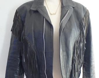 Motorcycle Jacket Vintage Black Leather Tassels