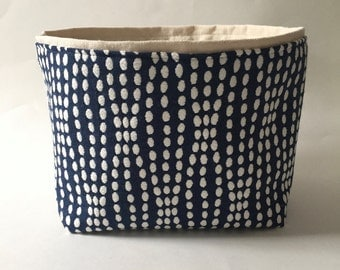 blue and cream dot textured medium fabric storage bin // basket //
