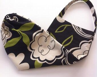 plastic bag holder / dispenser in modern fabric / black, olive and cream
