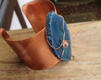 Turquoise agate on  copper hand burnished delightful cuff bracelet made in the USA