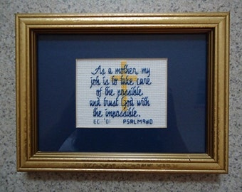As a Mother - Dark Blue - Inspirational Cross Stitch Picture - Wall Decor