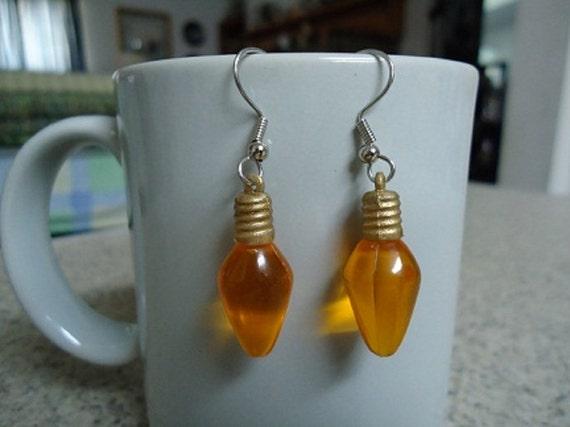 Orange Plastic Christmas Mini Lightbulb Earrings