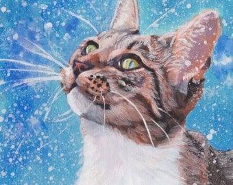 "TABBY CAT in snow portrait canvas print of LA Shepard painting 12x12"" kitty cat art"
