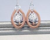 Mixed Metal Earrings, Sterling Earrings, Copper Earrings, Wire Wrapped Earring, Copper Jewelry, Metal Earrings, Jewelry Gift