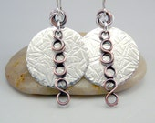 Hammered Silver Disc Earrings, Mixed Metal Earrings, Hammered Earrings, Hammered Sterling, Silver Dangle Earrings, Hammered Metal Earrings