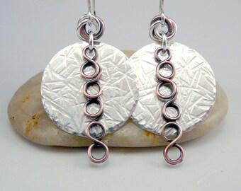 Hammered Silver Earrings, Mixed Metal Earrings, CIrcle Earrings, Hammered Earrings, Silver Dangle Earrings, Hammered Metal Earrings