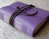 "Leather Journal, lined pages, approx. 4""x 6"", lavender, handmade rustic journal(1630)"