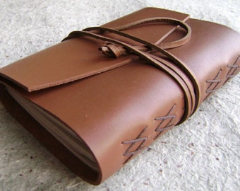 """Leather journal, 4"""" x 6"""", caramel brown, handmade leather journal by Dancing Grey Studio (1837)"""