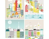 Skyline Art Print Collection, New York, San Francisco, London, Paris, Home, Living Room, Bedroom, Nursery, Kids, Childs, Nursery, PPSO2