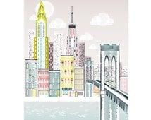 New York Print, Brooklyn Bridge Skyline Wall Art, American Cityscape, Skyline, City, Childs, Kids room and Nursery Decor, Style: SPPNYBB1