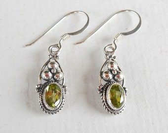 Bali Sterling Silver Peridot gemstone Dangle Earrings / 1.15 inch long / Balinese handmade jewelry in granulation technique