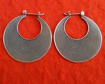Balinese wire technique art Silver Sterling hoop creolen  Earrings /  silver 925 / Bali handmade jewelry / (#409K)