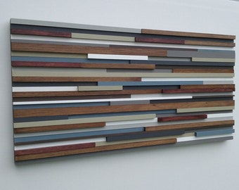 Wood Wall Art - Abstract Painting - Wood Sculpture - Abstract Wall Art - Reclaimed Wood Art - 22x44