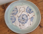 Pottery Plate: Hand Made, Blue Floral Pattern
