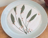 Pottery Plate: Hand Made, Green Leaves