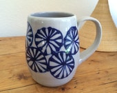 Pottery Handmade, Cobalt Wheels Coffee Cup