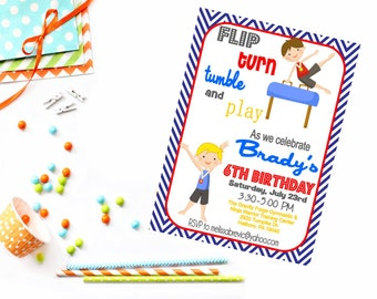 Boy Gymnastic Party Invitation - Gym Party - Gymnastic Birthday Invitation - Tumble Party - Boys Gym Party