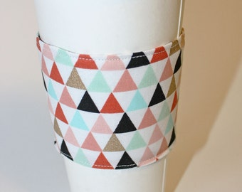 Gold and Pastels on Triangle Reusable Coffee Sleeve