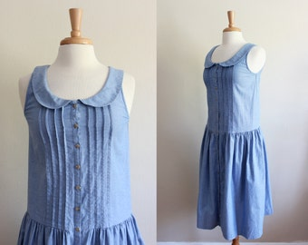 Vintage Peter Pan Collar Drop Waist Chambray Midi Dress